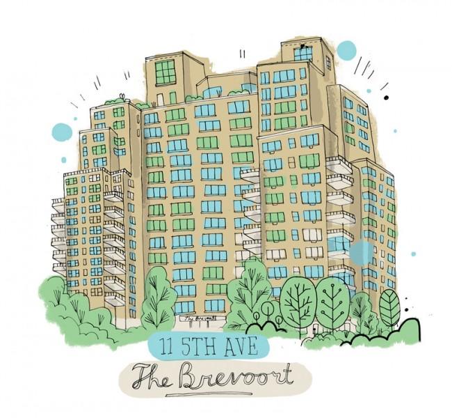 Illustration von James Gulliver Hancock aus seinem wahnwitzigen Projekt »All the Buildings in New York«