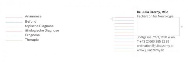 Die 6 Stufen der Diagnosestellung auf denen die Linien beruhen und Definition der Abstände von Schrift und Linien