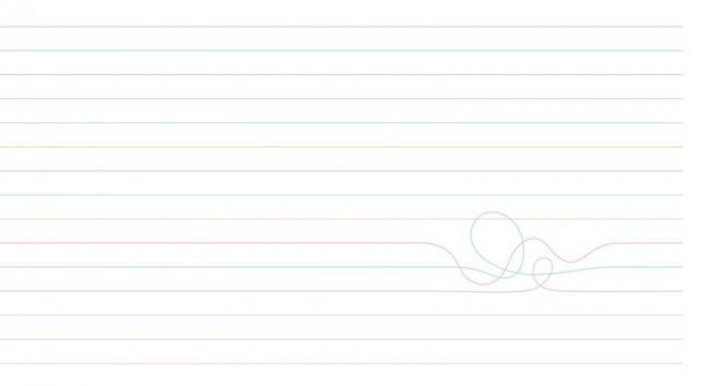 Detail, das zeigt, wie die regelmäßigen Linien von  einem Knoten unterbrochen werden