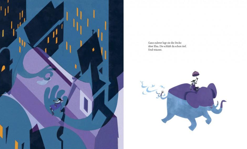 Jöns Mellgren: Elsa und die Nacht. Berlin (Kleine Gestalten) 2014, 32 Seiten. 14,90 Euro. 978-3-89955-715-2. Für Kinder von 3 bis 8 Jahren