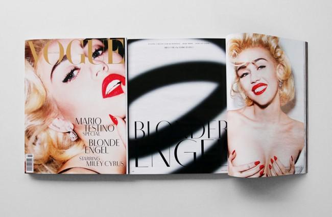 Typeface »Cyrus Light« für die Sonderedition der Vogue Deutschland, März 2014. In Zusammenarbeit mit Mario Testino.