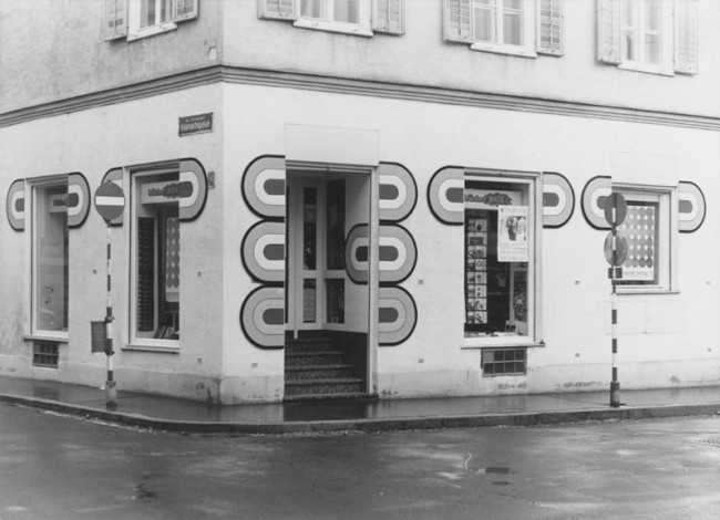 Karl Neubacher, bücher box, 1969, Fassadengestaltung, Graz, nicht mehr vorhanden