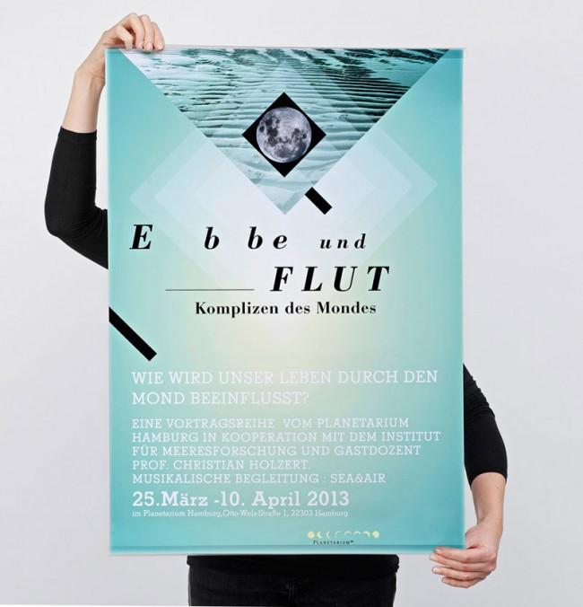 Plakatserie »Ebbe und Flut« für ein freies Kulturprojekt