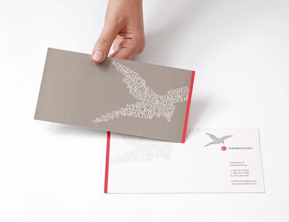Corporate Design für »Medien & Kultur«, hier die Compliment Card