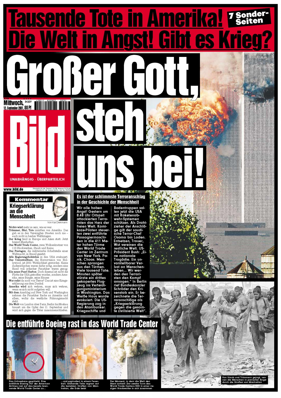 Titelblatt der BILD-Zeitung vom 12. September 2011