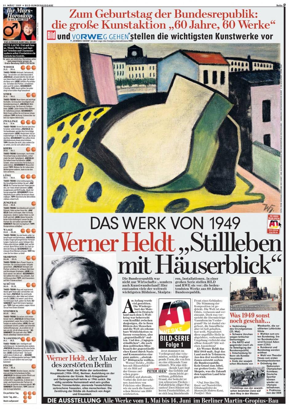 Kunstaktion »60 Jahre, 60 Werke« in der BILD-Zeitung vom 31. März 2009