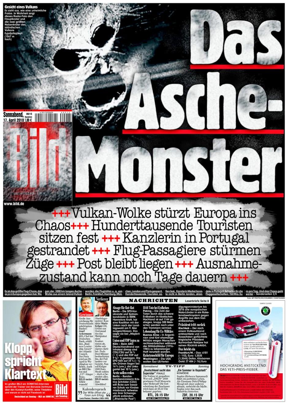 Bilder und Headlinge gehören bei BILD immer zusammen - Titelseite vom 17. April 2010