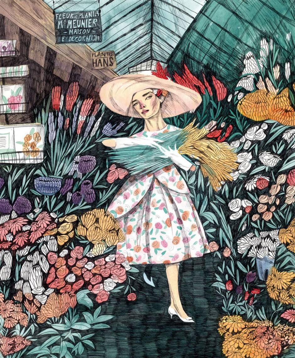 Maria Herreros, 2013, »Audrey Hepburn at a Flower Market«, Personal work; watercolor and graphite