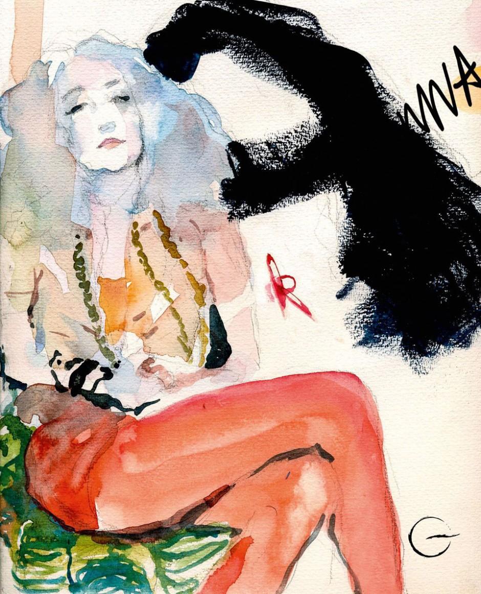Paolo Galetto, 2011, »Portrait of Anna Klossowski de la Rola«, Vogue Italia, vogue.it: Voguette by Paolo Galetto, Editor-in-chief: Franca Sozzani, Photo Editor: Alessia Glaviano; watercolor on paper