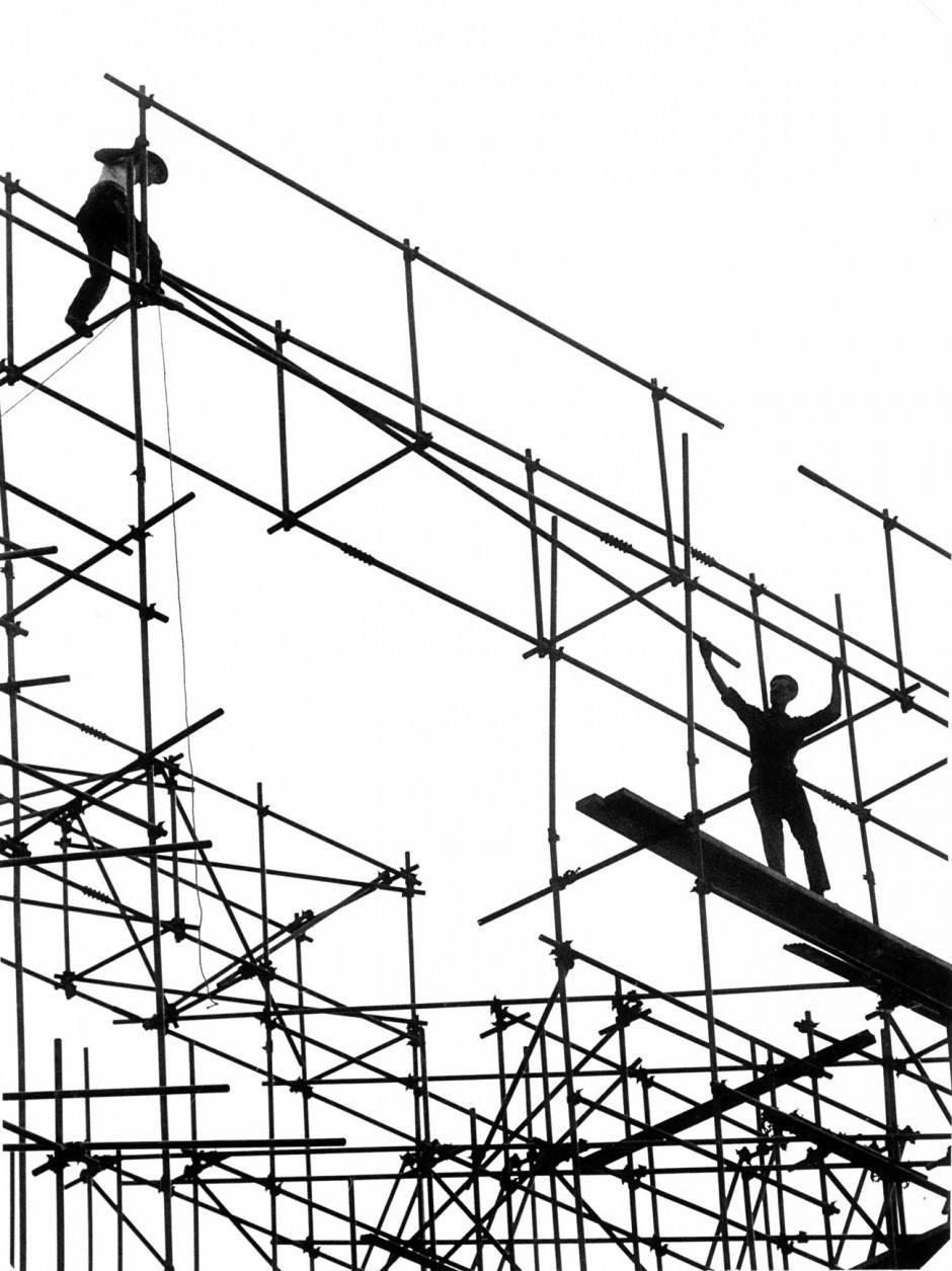 Hans Silvester: Stahlgerüstmontage, ohne Jahr (ca. Ende der 1950er Jahre)
