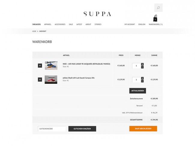 Suppa Ecommerce, Checkout