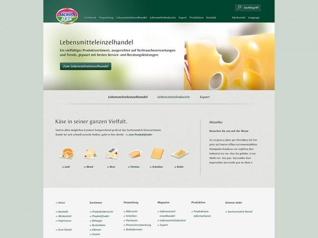 Sachsen Milch, Startseite