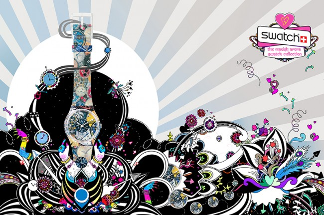 Swatch – Advertising illustrations for Manish Arora's new range of Swatch watches