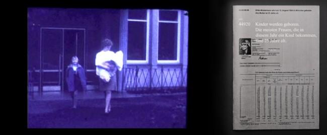 Stills aus »Erika – Eine Durchschnittssammlung«, Found-Footage Videoarbeit über Erika Mustermann. Zum Film gibt es ein Heft, das die Statistiken, die die Tonspur des Filmes bilden, bündelt.