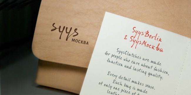 »Syys_Москва« Clutch handmade in Berlin mit Schrift »SyysScript«