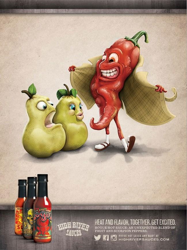Hier war von Anfang an geplant, etwas zu schaffen, das »zu scharf« für eine gedruckte Anzeige sein würde – aber viral für High River Sauces Werbung machen würde ... Haloes & Haymakers heuerte Illustrator John Lamb an.