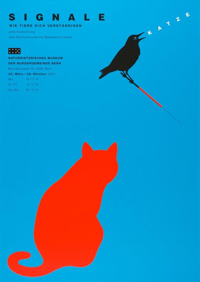 Claude Kuhn (*1948), Signale. Wie Tiere sich verständigen, Ausstellungsplakat für das Naturhistorische Museum der Bürgergemeinde Bern, 2001, Siebdruck, Museum für Kunst und Gewerbe Hamburg