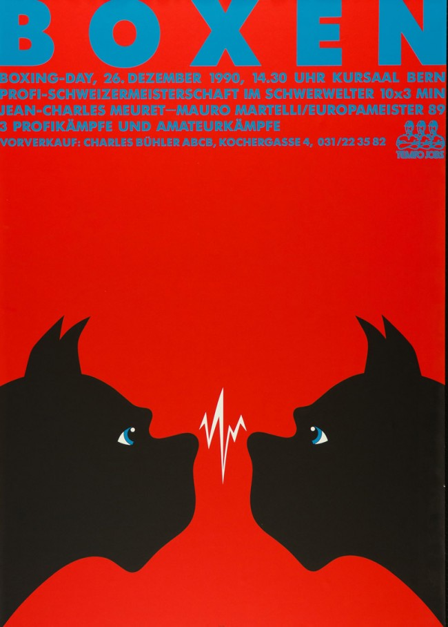 Claude Kuhn (*1948), Boxen, Plakat für die Profi-Schweizermeisterschaft im Schwerwelter, Bern 1990, Siebdruck, Museum für Kunst und Gewerbe Hamburg