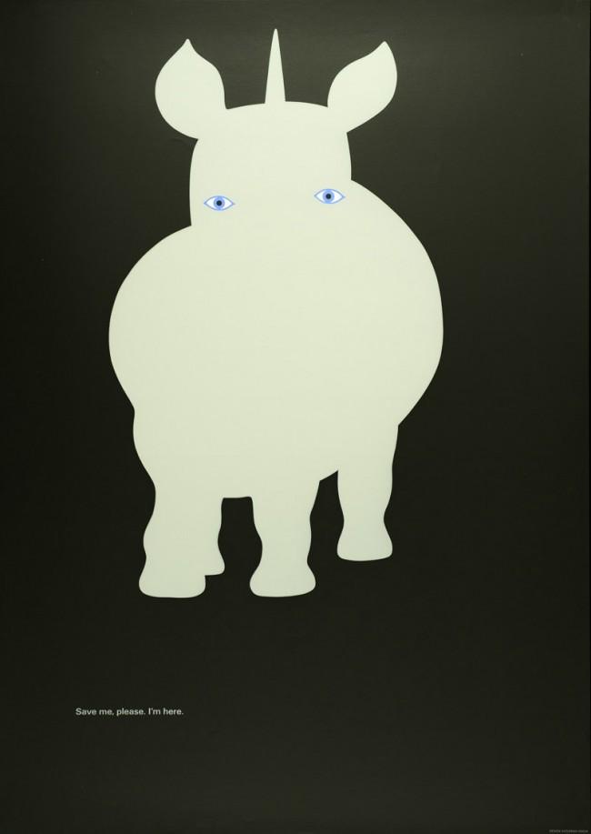 Kazumasa Nagai (*1929), Nashorn, Siebdruck, Museum für Kunst und Gewerbe Hamburg