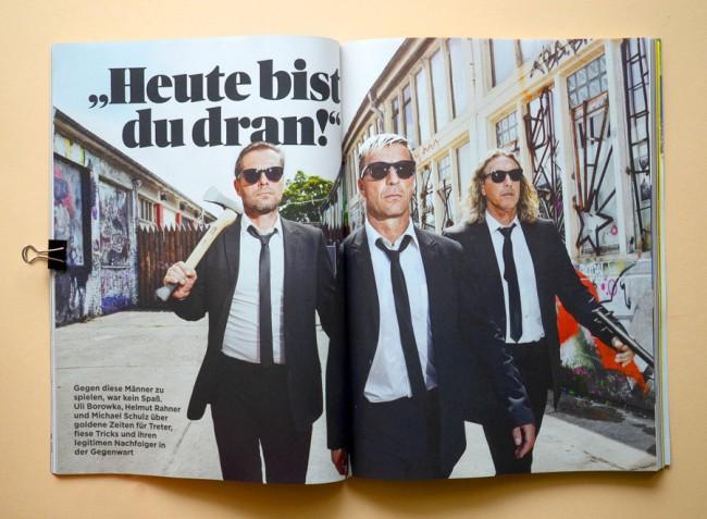 Uli Borowka, Helmut Rahner und Michael Schulz Editorial für 11 Freunde