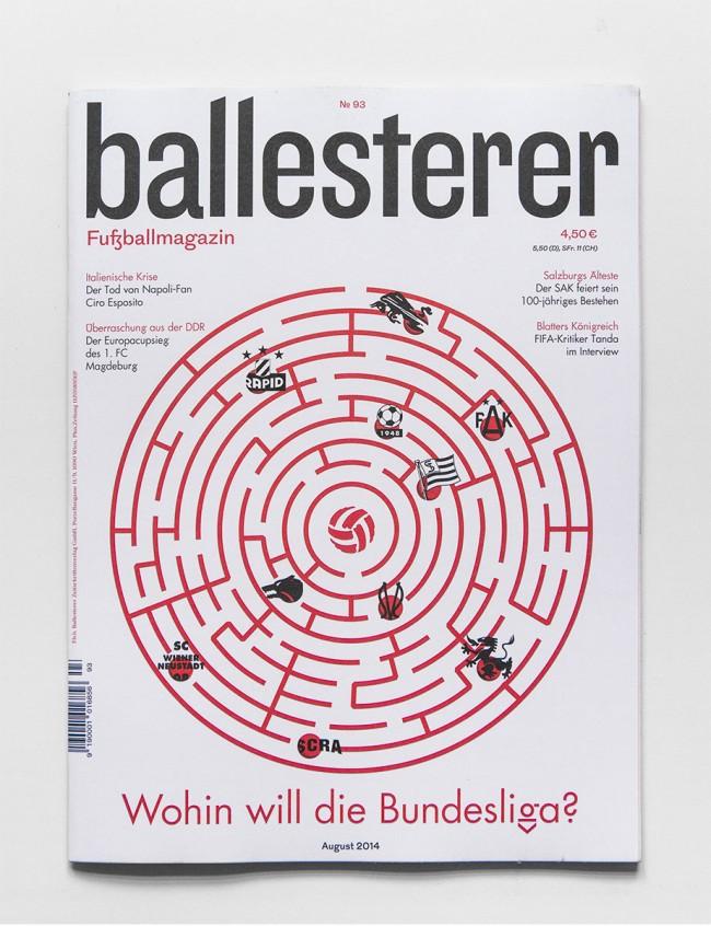 Ballesterer No. 93 | Design für das einzige österreichische Fußballmagazin. Gemeinsam mit Manuel Radde.  2013 – laufend