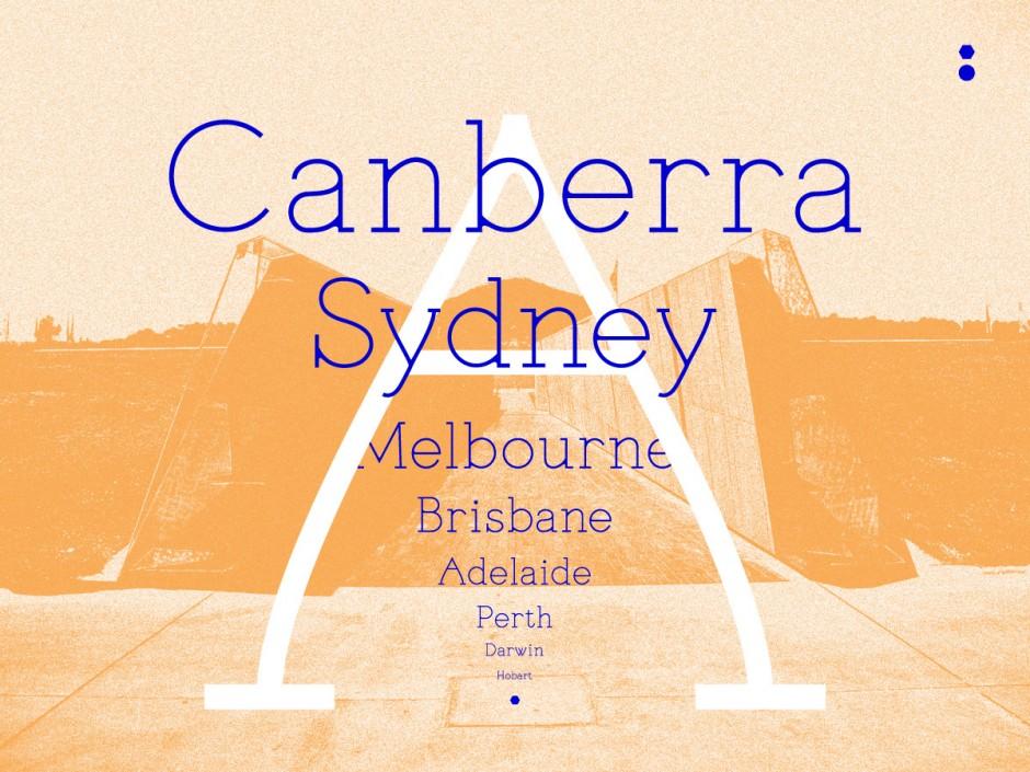Zu ihrem 100-jährigen Bestehen schrieb die Stadt Canberra 2013 einen internationalen Schriftenwettbewerb aus, den der junge James Raftopoulos gewann. Sein Font »Canberra Centenary« ist inspiriert von den organischen und hexagonalen Formen des Stadtentwicklungsplans von Walter Burley Griffin aus der Gründerzeit.