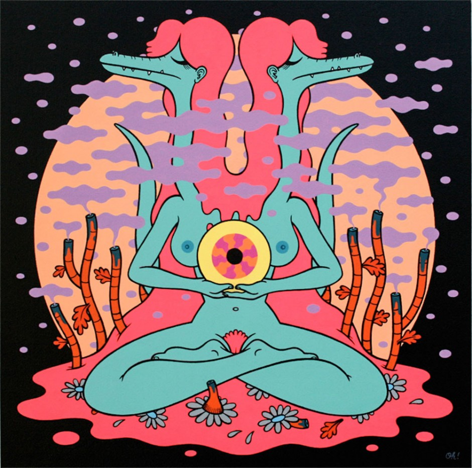 Magic Moon von Illustrator und Maler Oliver Hibert, der es gerne psychedelisch mag (www.oliverhibert.com)