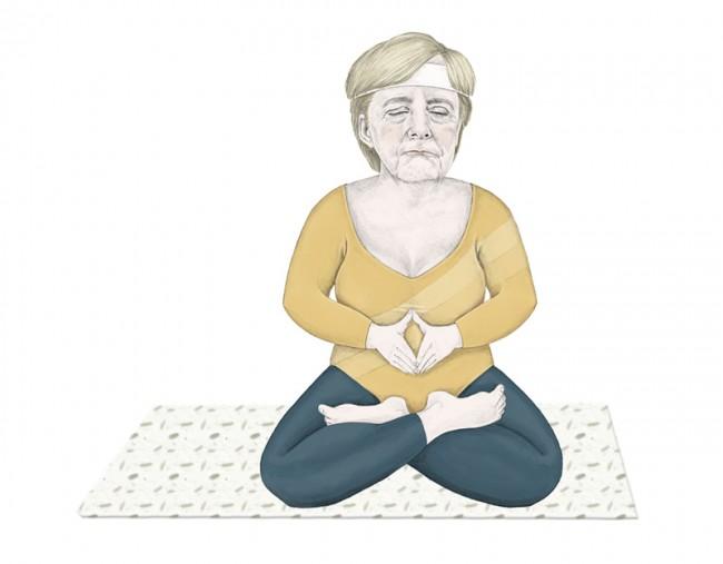 Sina Möhring zeigt Fr. Merkel in ungewohnter Pose (www.sinamoehring.com)