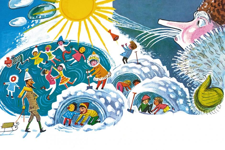 »Winter and the Children« Illustration von der niederländisch-deutschen Künstlerin Beatrice Braun-Fock, 1959.