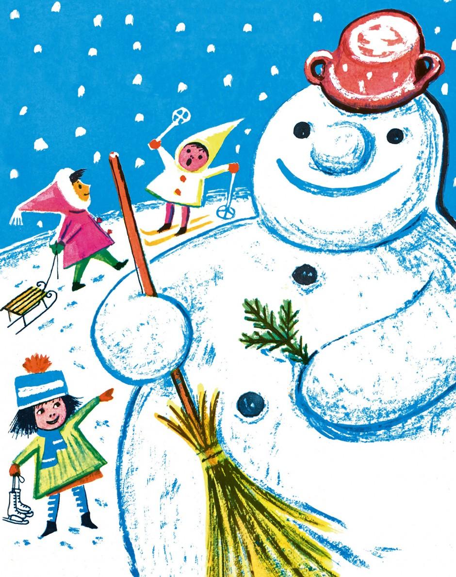 »Winter and the Children« Illustration von niederländisch-deutscher Künstlerin Beatrice Braun-Fock, 1959.