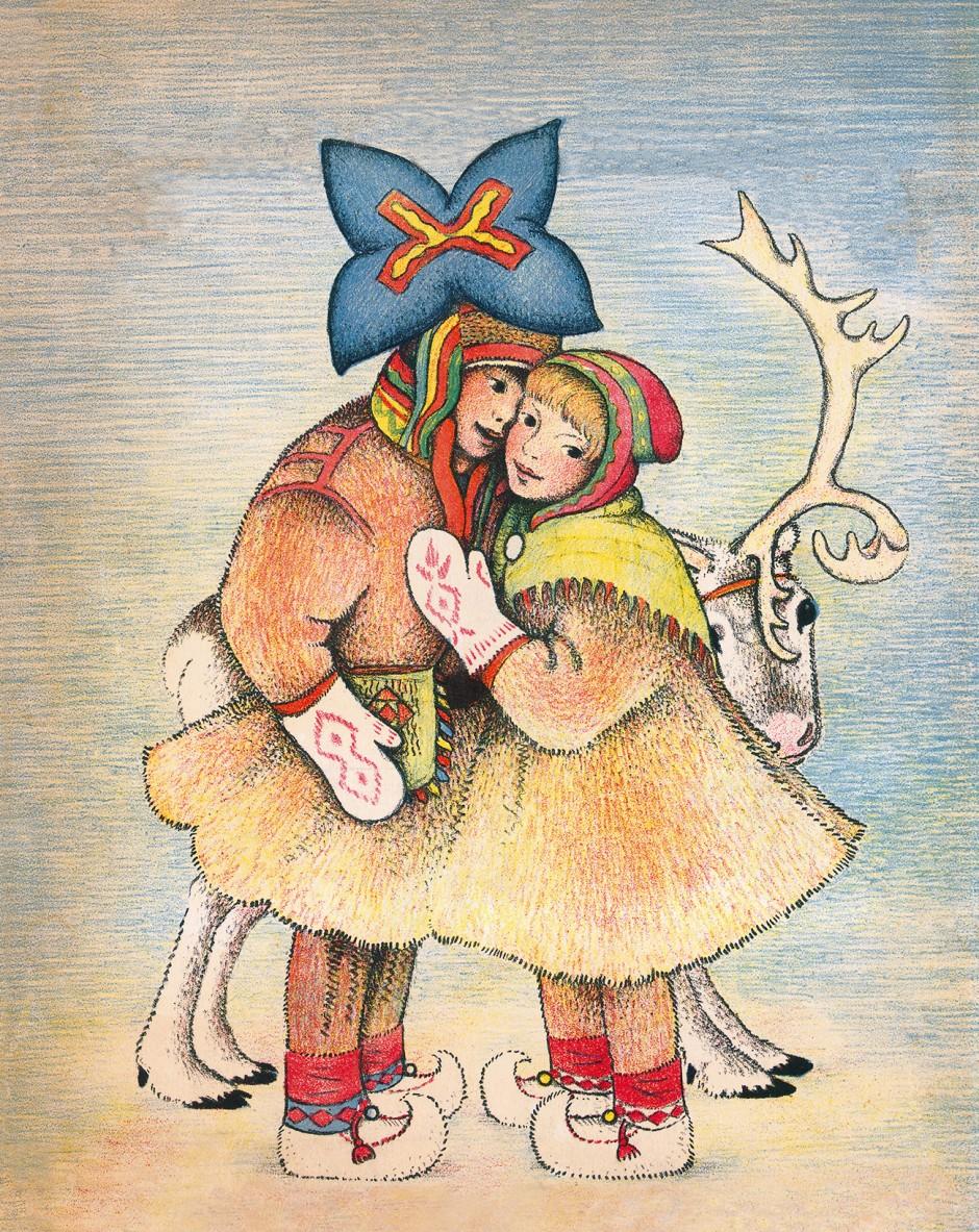 """""""Children of the Northlights"""" Illustration von Ingri und Edgar Parin d'Aulaire, 1935."""