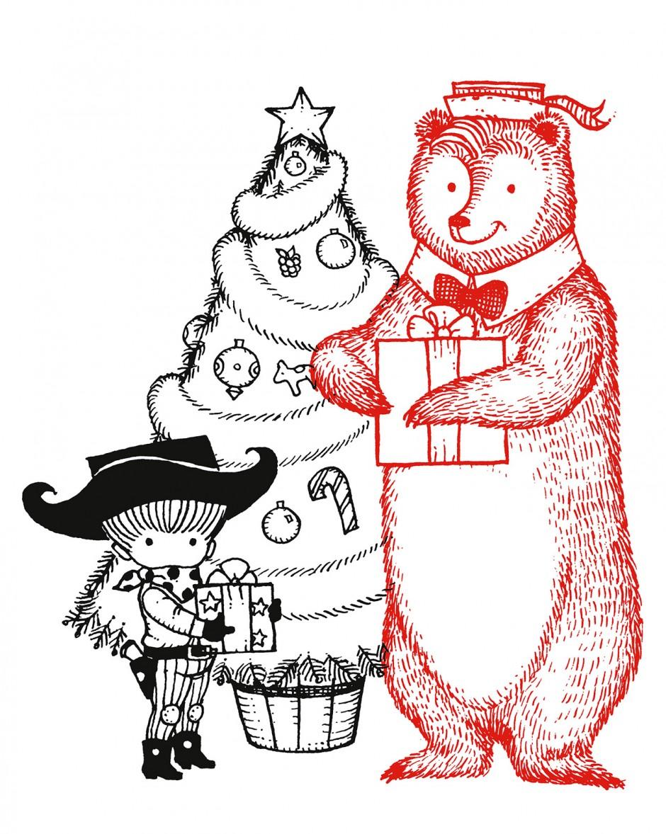 »A Cowboy's Christmas« Illustration von dem amerikanischen Künstler Joan Walsh Anglund, 1972.