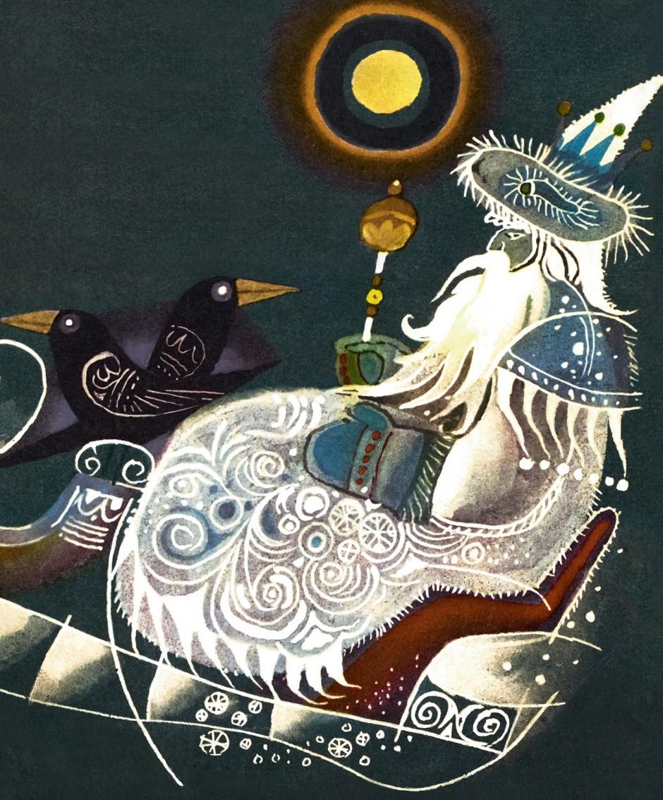 »The Ballad of the Snow King« Illustration von dem berühmten polnischen Künstler Zbigniew Rychlicki, 1968.