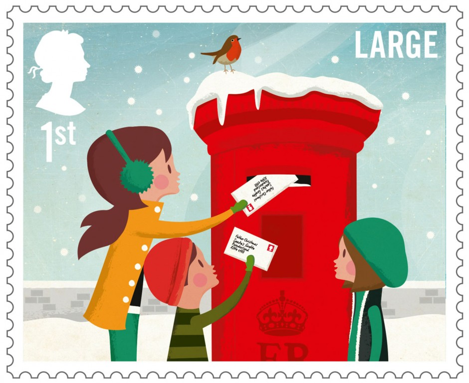 Royal Mail Christmas Stamps, Illustration: Andrew Bannecker