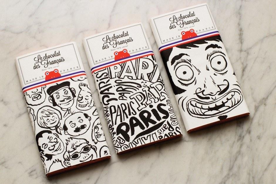 Gleich 200 Tafeln ließen die Macher von »Le chocolat des Français« von bekannten französischen Illustratoren direkt bemalen – zehn Entwürfe wurden bisher gedruckt.