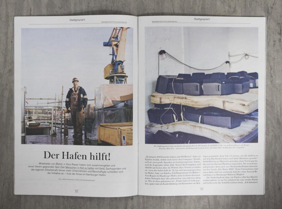 Der Hafen hilft! - Bildstrecke über eine Hilfsinitiative der Mitarbeiter des Hamburger Hafensfür das Hamburger Hinz und Kunzt Magazin