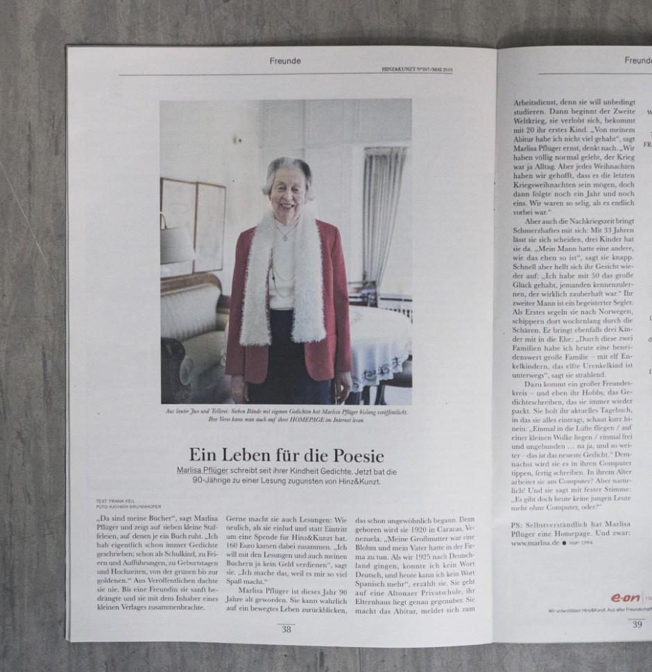 Ein Leben für die Poesie - Porträt von Marlisa Pflüger für das Hamburger Hinz und Kunzt Magazin