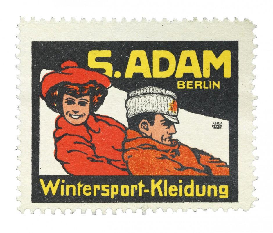 Reklamemarke aus einer Serie der Firma S. Adam, 1911; Entwurf: Louis Oppenheim