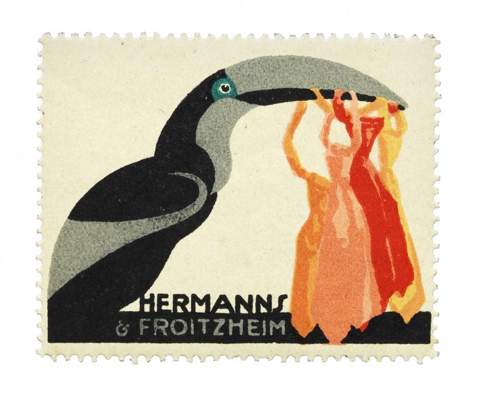 Reklamemarke der Firma Hermanns & Froitzheim, ca. 1911; Entwurf: Julius Klinger