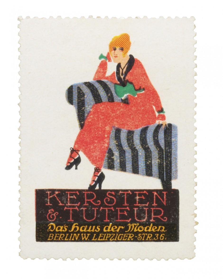 Reklamemarke aus einer Serie des Modehauses Kersten & Tuteur, ca. 1913; Entwurf: Ernst Deutsch