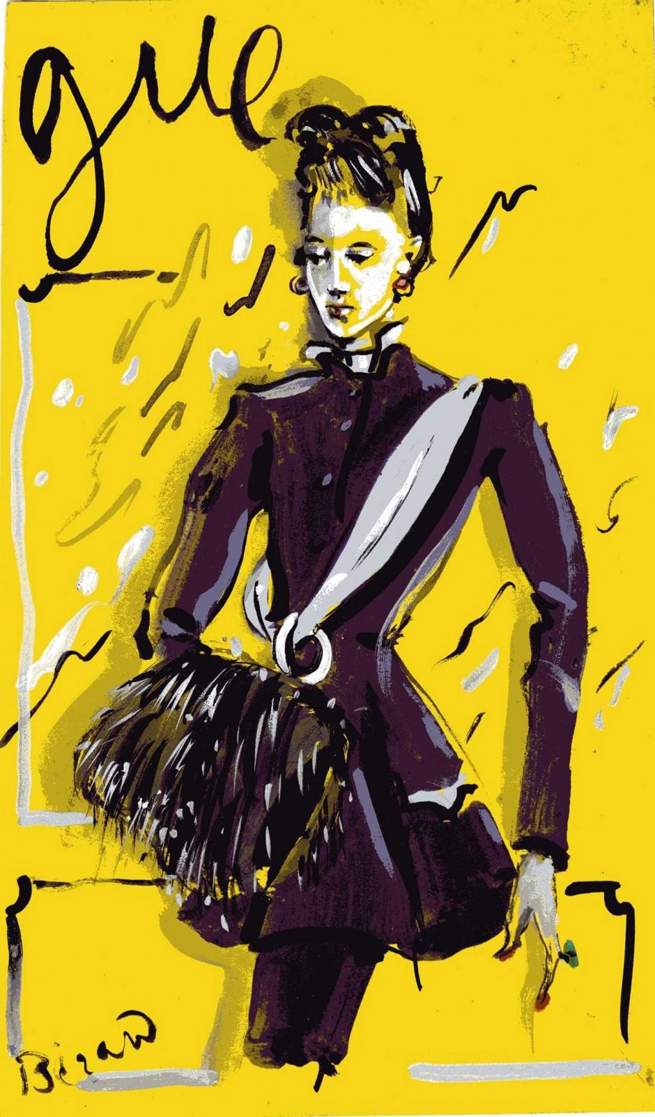 Christian Bérard, Ohne Titel, 1938, veröffentlicht in Vogue (Titelbild), Tuschpinsel und Aquarell, 35 x 20 cm