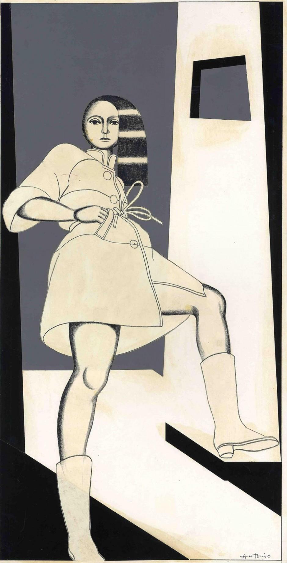 Antonio, Léger Series, 1963, veröffentlicht in The New York Times Magazine, Mixed Media, 69 x 27 cm