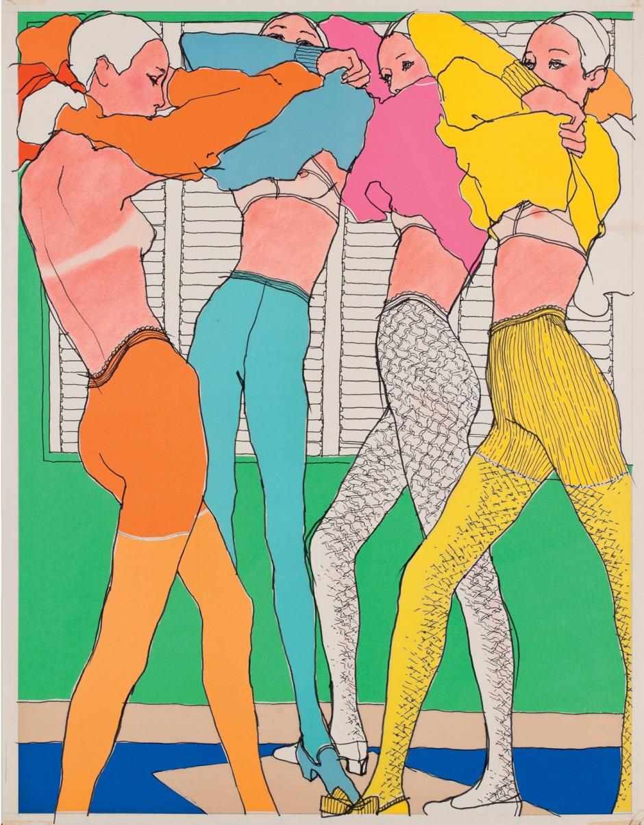 Antonio, Lingerie, 1966, veröffentlicht in Elle France, Tuschfeder und Collage, 64 x 48 cm