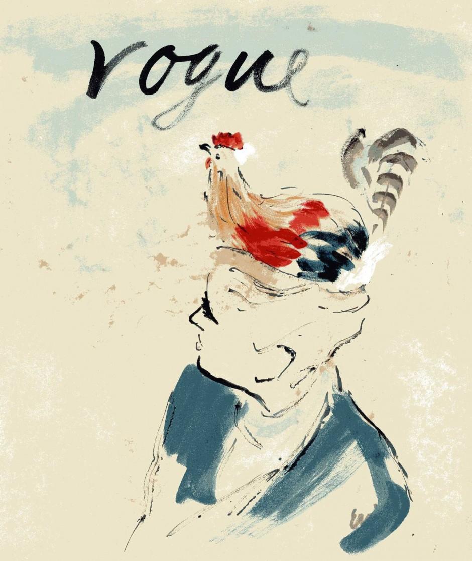 Eric, Hut, 1938, Mode von Schiaparelli, veröffentlicht in Vogue (Titelbild), Tuschpinsel und Aquarell, 35 x 30 cm