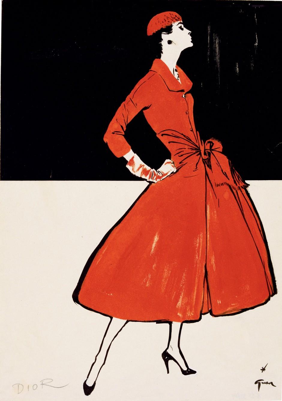 Réne Gruau, Ohne Titel, 1955, Mode von Dior, veröffentlicht in International Textiles, Tuschpinsel und Gouache, 39,5 x 27,5 cm