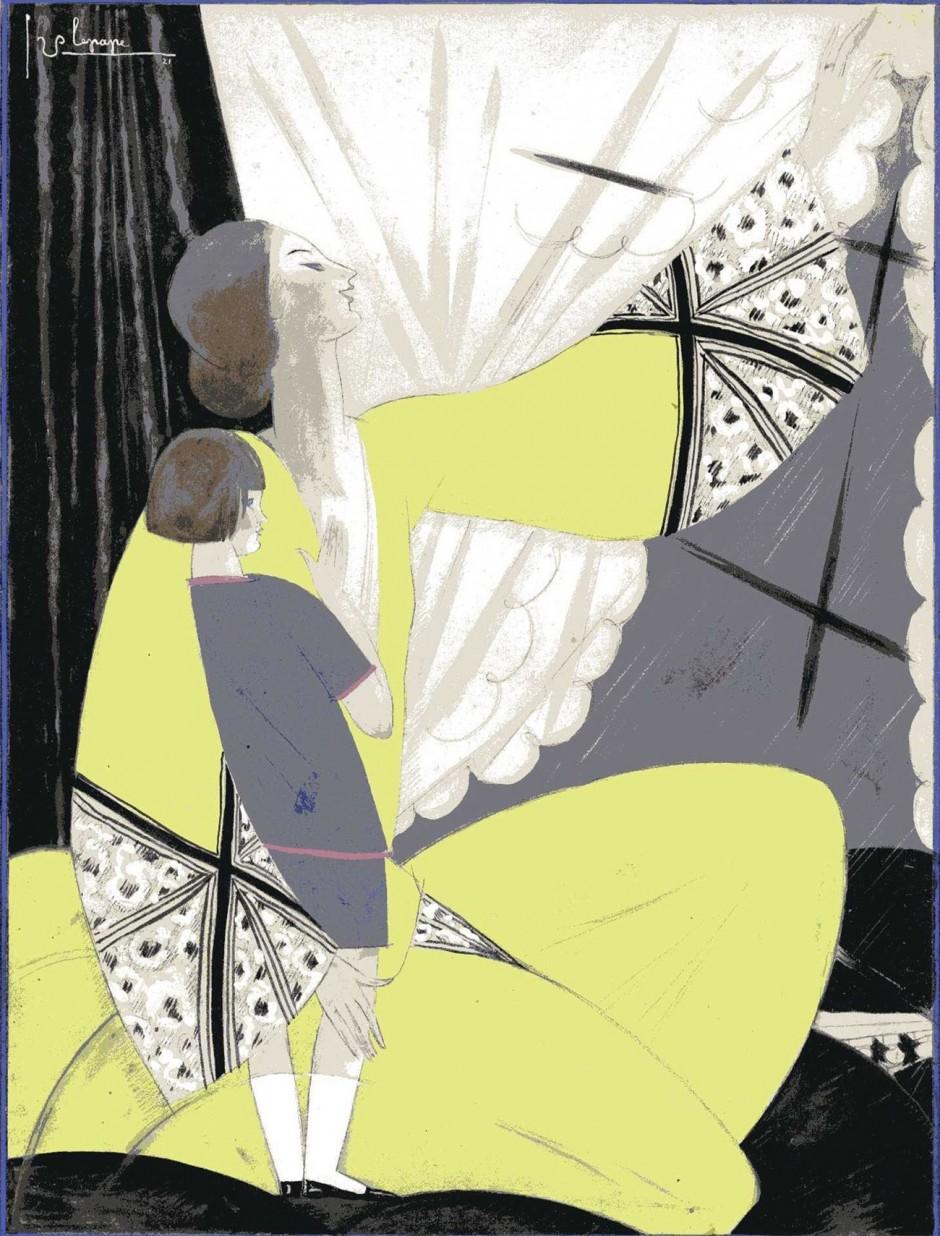 Georges Lepape, Ohne Titel, 1922, veröffentlicht in Vogue UK (Titelbild), Bleistift, Gouache und Aquarell, 34 x 26 cm