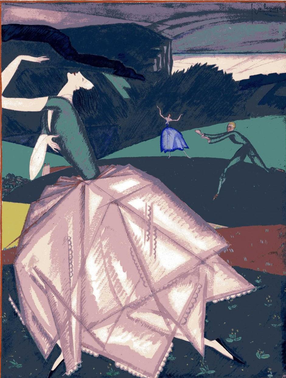 Georges Lepape, Ohne Titel, 1916, veröffentlicht in Feuillets d'Art, Gouache und Aquarell, 34 x 26 cm
