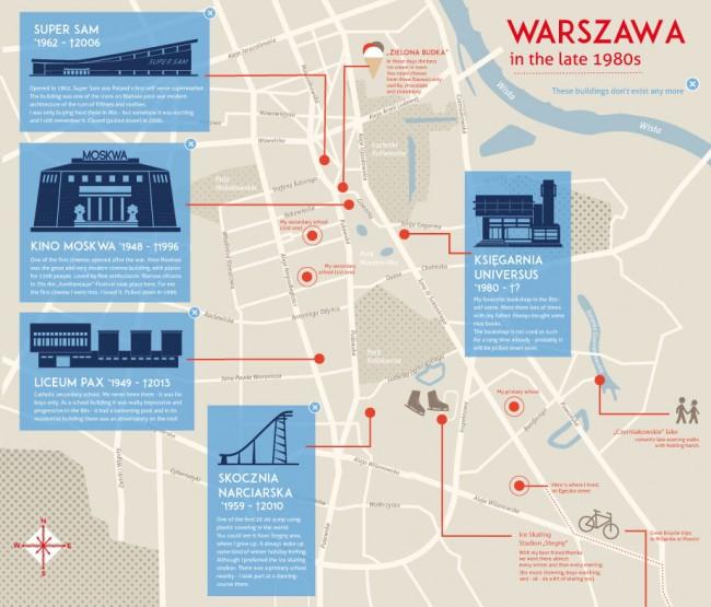 Illustrierte Karte für den »Creative and Curious Map Contest« von They Draw and Travel. Die Karte stellt Warschau dar und einige Orte oder Gebäude, die mal als moderne Architektur galten und jetzt nicht mehr existieren. April 2014
