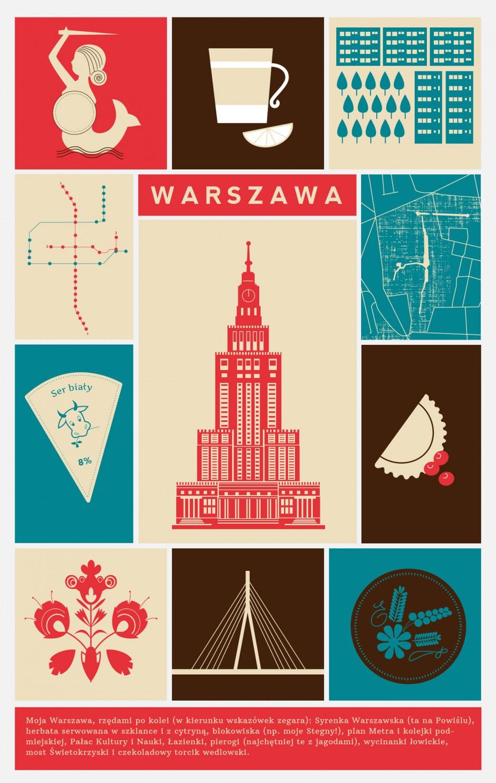 Infografik-Collage mit Icons und Symbolen zu Warschau, Oktober 2014