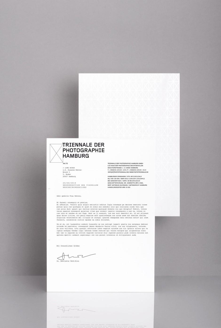 Triennale der Photographie Hamburg – Briefpapier